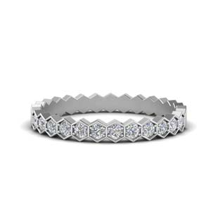 Hexagon Diamond Wedding Band