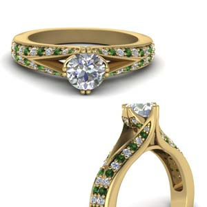 Emerald Round Diamond Ring