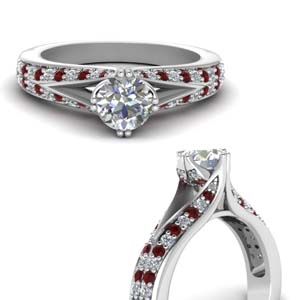 Ruby With Split Pave Ring
