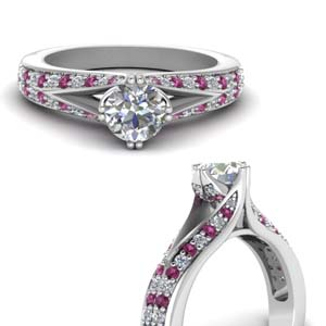 Round Diamond Split Ring