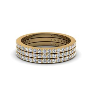 18k Gold Trio Stack Diamond Band