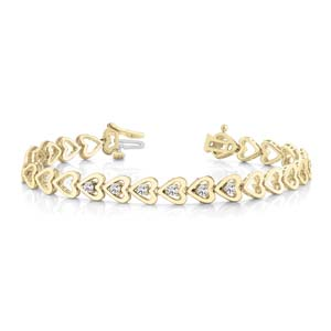 Heart Linked Round Diamond Bracelet