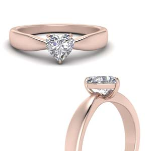 Heart Shaped Solitaire Rings