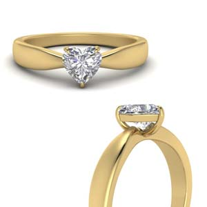 Gold Heart Solitaire Ring