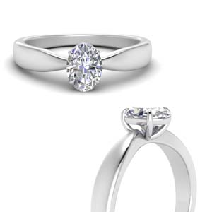 Tapered Bow Oval Diamond Solitaire Ring