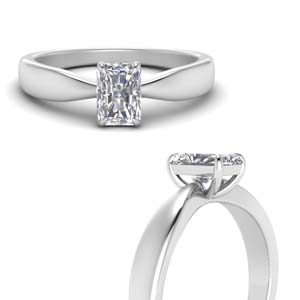 Radiant White Gold Solitaire Ring