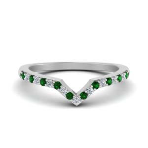 V Shaped Emerald Band