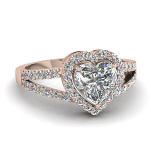 Heart Split Shank Engagement Ring