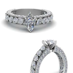 vintage pave marquise shaped diamond accent engagement ring in FD1058MQRANGLE3 NL WG