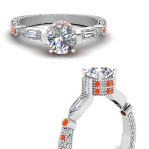 Orange Topaz Filigree Diamond Ring