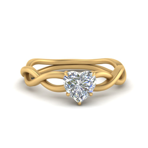 Twisted Heart Diamond Solitaire Ring