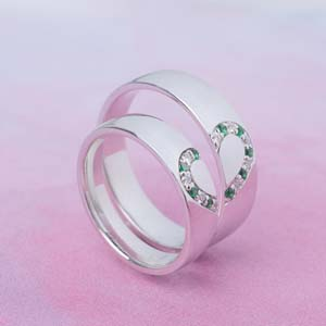His and Her Wedding Band With Emerald