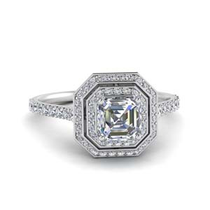 Asscher Cut Ring With Double Halo