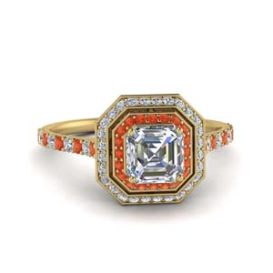 Petite Halo Ring Orange Topaz
