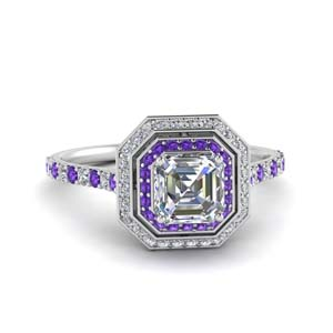 Halo Ring Purple Topaz