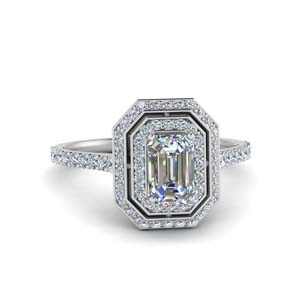 Double Halo Ring With Emerald Cut