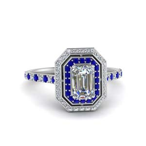 Pave Sapphire Halo Ring