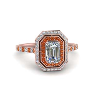 Rose Gold Orange Sapphire Halo Ring