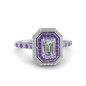 14K White Gold Purple Topaz Ring With Halo