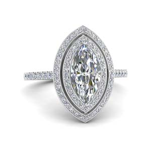 1.50 Ctw. Halo Marquise Diamond Ring