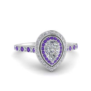 Purple Topaz Drop Halo Ring