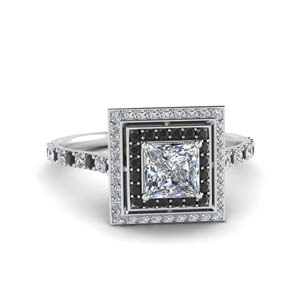 Black Diamond Halo Princess Cut Ring