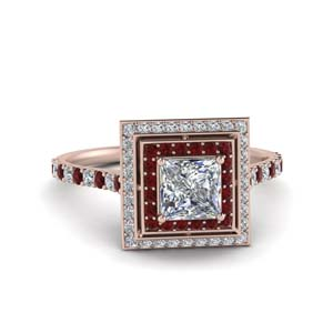Princess Cut Ruby Halo Ring