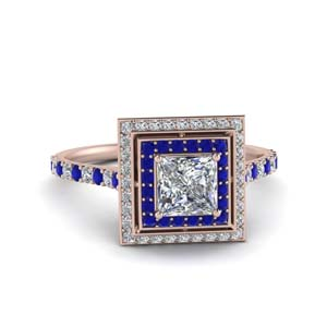 Sapphire Halo Princess Diamond Ring