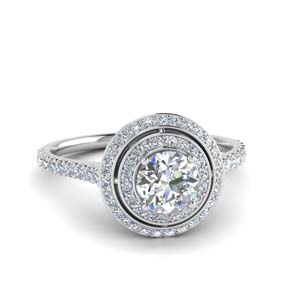 Double Halo Petite Diamond Ring