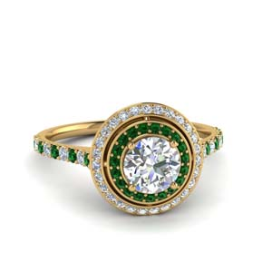 Double Halo Ring With Emerald