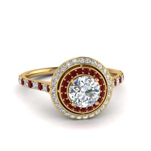 Halo Ring Ruby Round