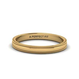 Milgrain Gold Wedding Band