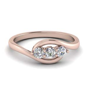 18K Rose Gold 3 Stone Bypass Ring