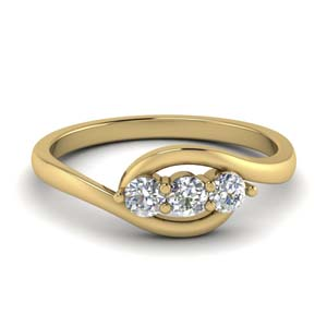 14K Yellow Gold Crossover 3 Stone Ring