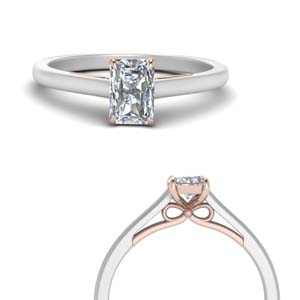 2 Tone Bow Diamond Solitaire Ring