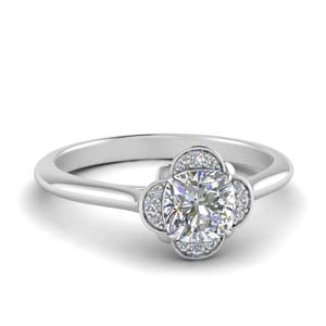 Petal Halo Cushion Diamond Ring