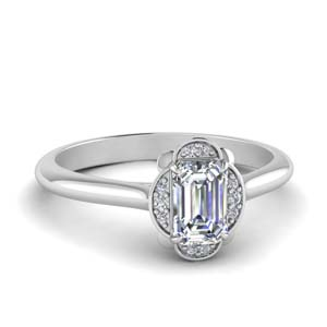 Petal Emerald Cut Halo Ring