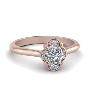 Petal Engagement Ring With Oval