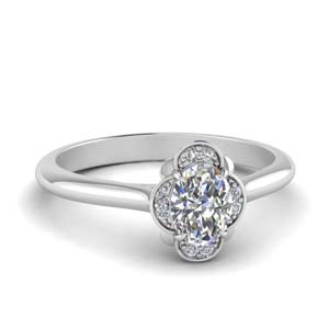 Petal Oval Halo Engagement Ring