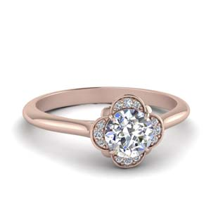 Rose Gold Flower Petal Diamond Ring