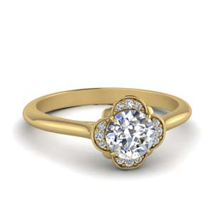 Petal Flower Halo Diamond Ring