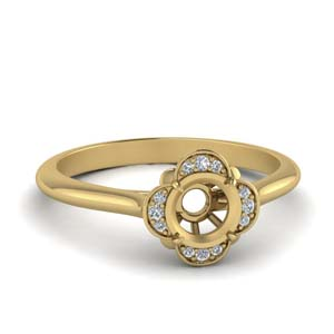 Yellow Gold Semi Mount Halo Ring