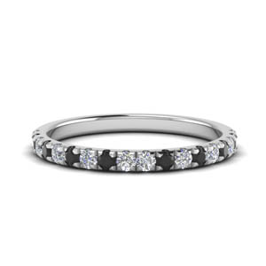 Platinum Band With Black Diamond