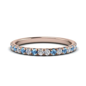 0.40 Ct. Diamond Band With Blue Topaz