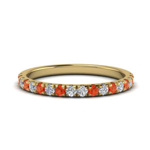 Womens Band With Orange Topaz