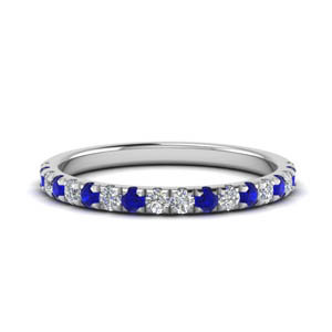 U Prong Diamond Band With Sapphire