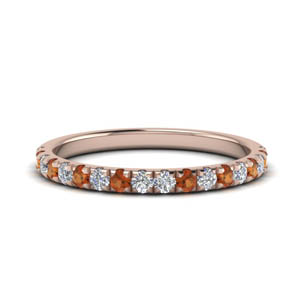 Round Diamond Band With Orange Sapphire