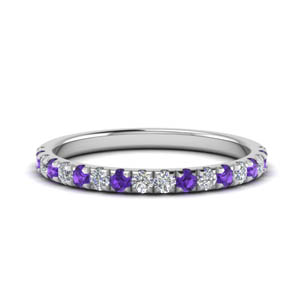 Round Diamond Band With Purple Topaz
