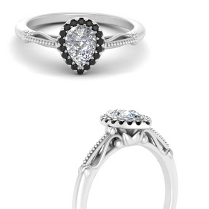 pear shaped halo floral shank black diamond engagement ring in white gold FD124330PERGBLACKANGLE3 NL WG
