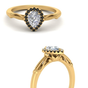 pear shaped halo floral shank black diamond engagement ring in yellow gold FD124330PERGBLACKANGLE3 NL YG